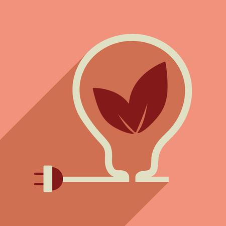 Flat web icon with long shadow eco light bulb
