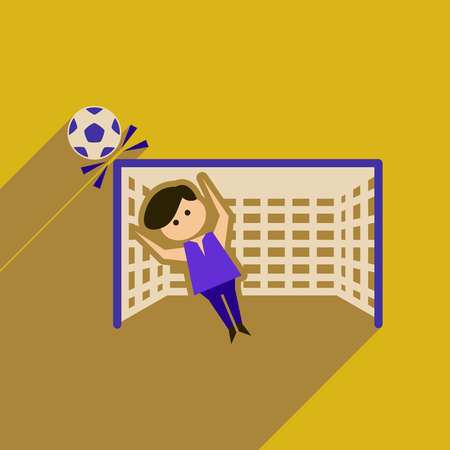 arquero de futbol: Flat web icon with long  shadow goalkeeper