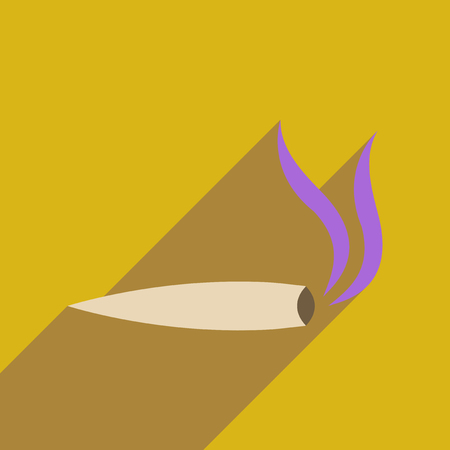 Flat web icon with long  shadow marijuana cigarette