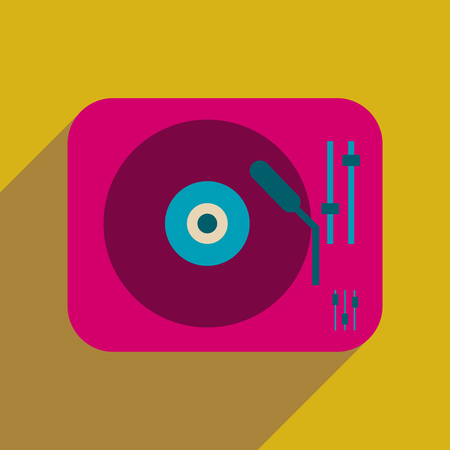 Flat web icon with long  shadow retro turntable Illustration