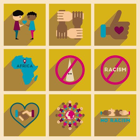 racismo: Concept of flat icons with long  shadow no racism Vectores