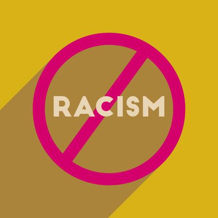 racismo: icono de banda plana con una larga sombra lucha contra el racismo Vectores
