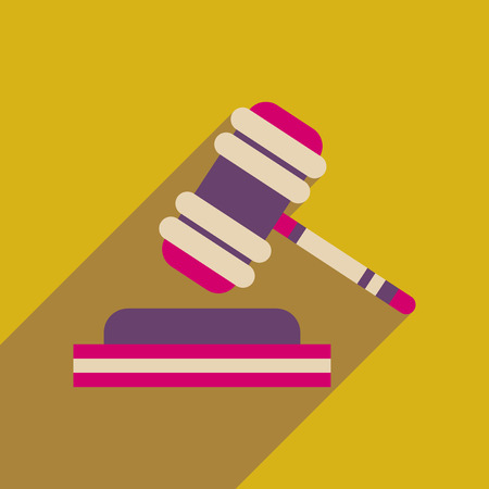 tribunal: Flat web icon with long  shadow judge hammer Illustration