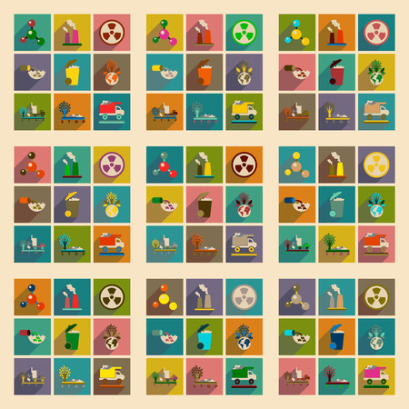 trash danger: Concept of flat icons with long  shadow eco danger