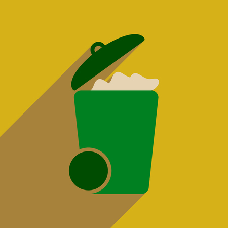 Flat web icon with long  shadow trash can Illustration