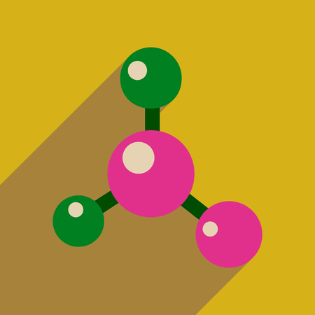 no nuclear: Flat web icon with long  shadow molecule Illustration
