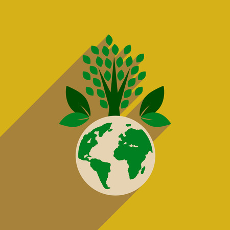 environment geography: Flat web icon with long  shadow Earth plants