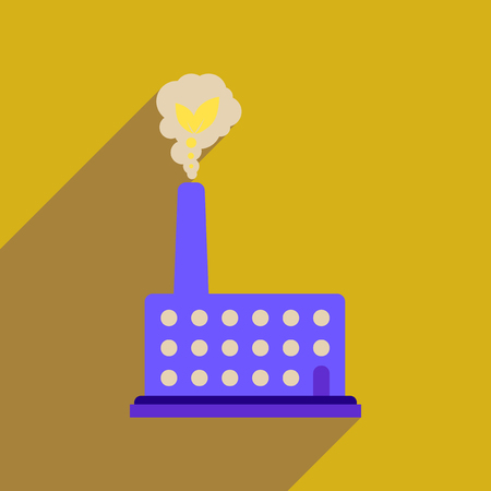 Flat web icon with long  shadow eco factory Illustration