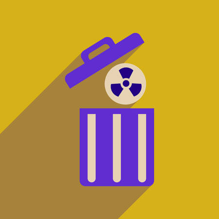 toxic waste: Flat web icon with long  shadow toxic waste