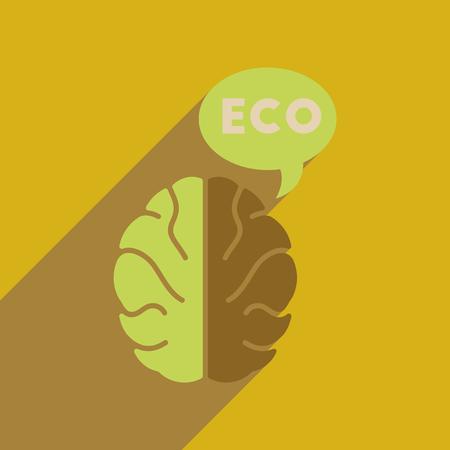 Flat web icon with long  shadow eco thinking Illustration