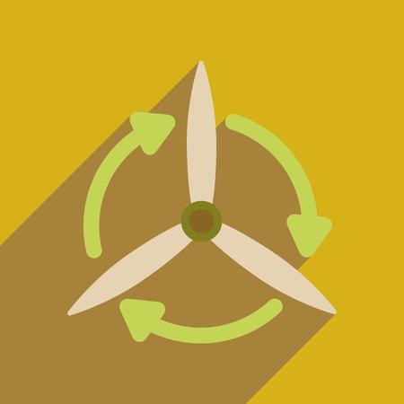 icono de banda plana con una larga sombra del molino de viento