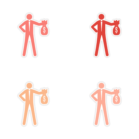 Set of stylish sticker on paper man with bag money