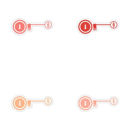 dwell: Set of stylish sticker on paper key lock money