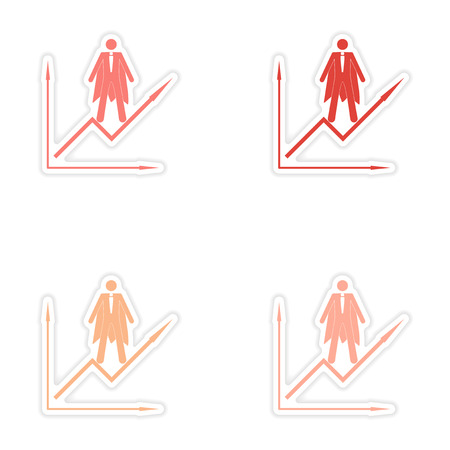 economic forecast: Set of stylish sticker on paper man economic schedule Illustration