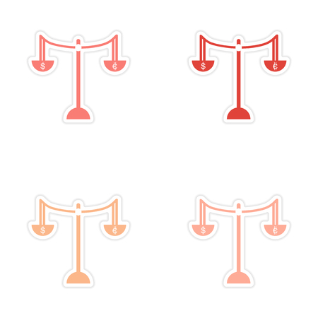 changes in equity: Stylish assembly sticker on paper Scales and coins