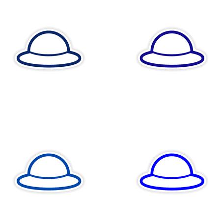 Set van stickers Britse hoed op witte achtergrond Stock Illustratie
