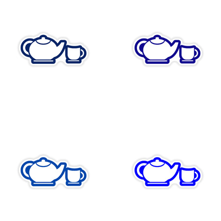 Set of stickers teapot and cup on white background
