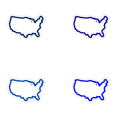 Set of stickers map of USA on white background