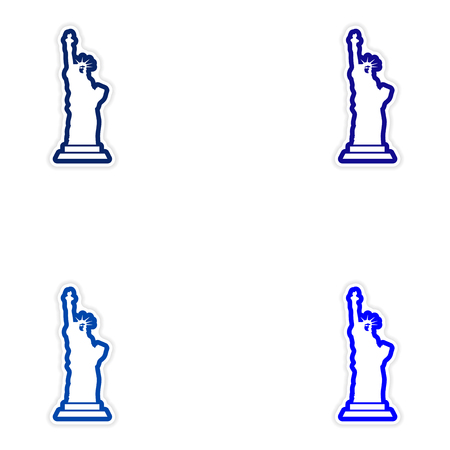 Set stickers The Statue of Liberty on white background Illustration