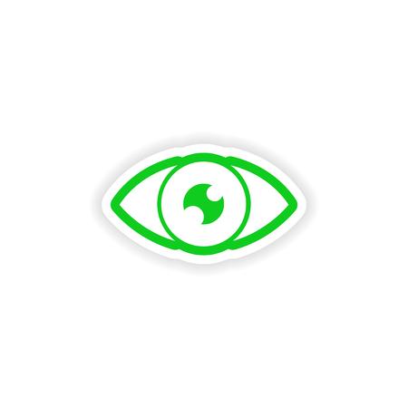 human eye: paper sticker on white background human eye