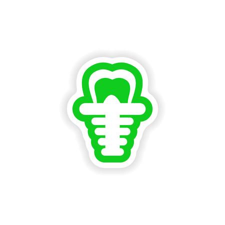 false: paper sticker on white background false tooth