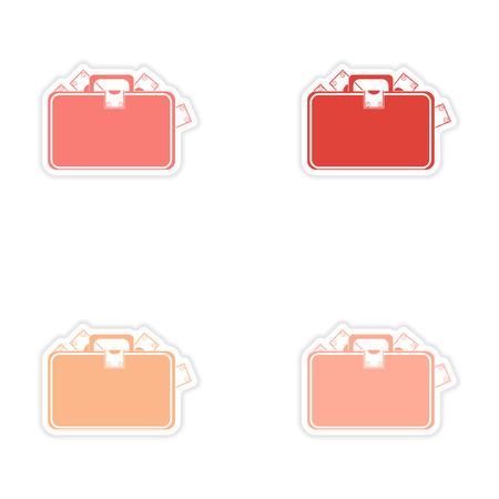 paper case: Stylish assembly sticker on paper case full of money