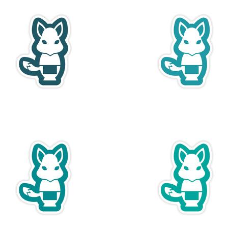 masseur: Set of paper stickers on white background fox masseur Illustration