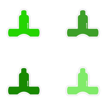 louver: assembly realistic sticker design on paper kitchen ventilation