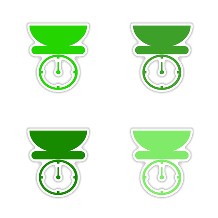 spring balance: assembly realistic sticker design on paper kitchen scales Illustration