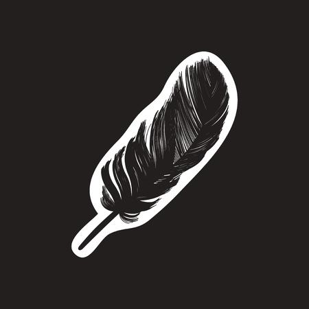 stylish black and white icon feather bird