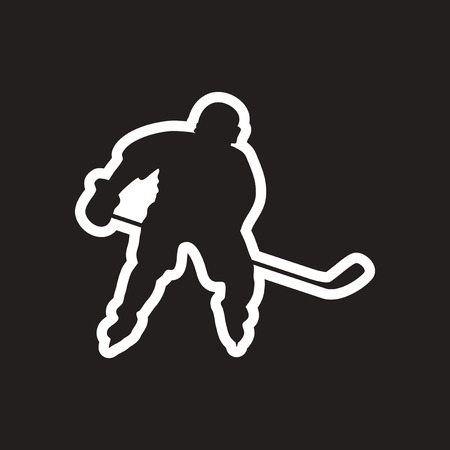 stylish black and white icon Canadian hockey player Illustration