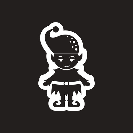Flat icon in black and white Christmas elf