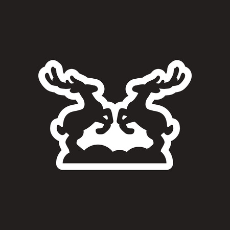 Flat icon in black and white deer