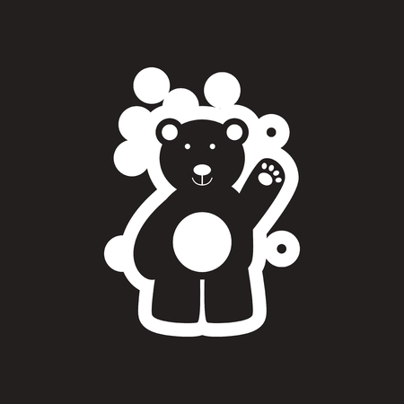 Flat icon in black and white northern bear
