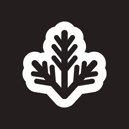wintery: Flat icon in black and white fur-tree branch