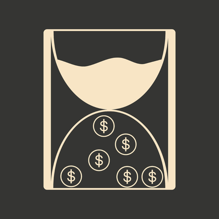 seeps: Flat in black white hourglass and coins