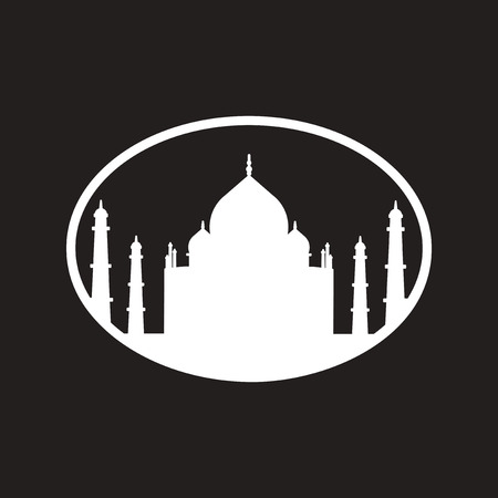 stylish black and white icon Indian Taj Mahal