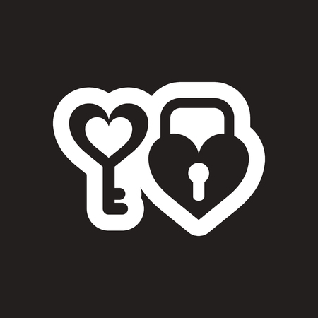 door lock love: Flat icon in black and white key lock