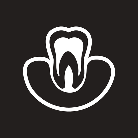 mouth smile: stylish black and white icon healthy tooth