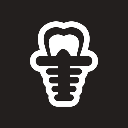 stylish black and white icons tooth implant Illustration