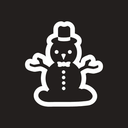 flat icon in black and white snowman Illustration