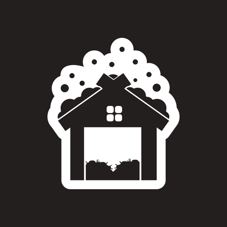 barn wood: flat icon in black and white barn Illustration