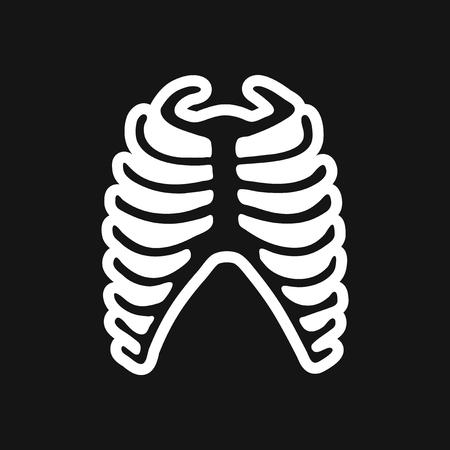 rib: stylish black and white icon human rib Illustration