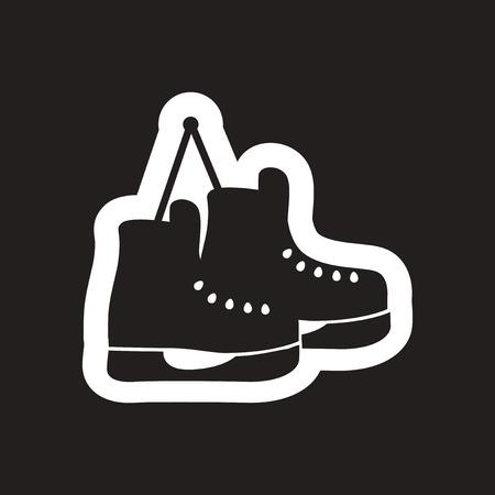 shoelaces: flat icon in black and white skates Illustration
