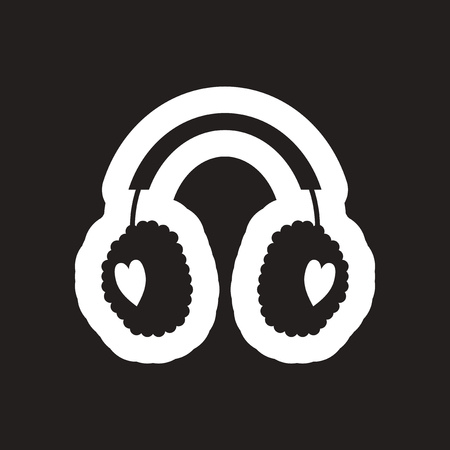 muff: flat icon in black and white earmuffs