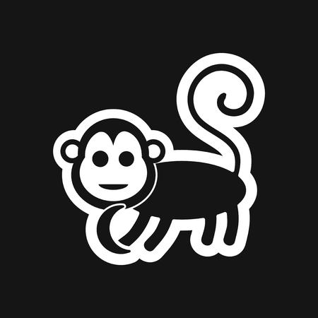 stylish black and white icon monkey with bananas