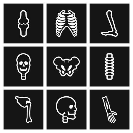 wrist joint: assembly stylish black and white icons human bones