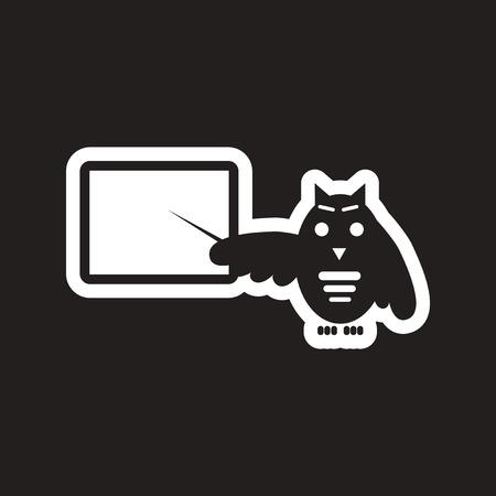 scholarly: style black and white icon owl teacher Illustration