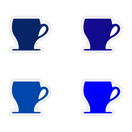 assembly realistic sticker design on paper cofee cups Illustration