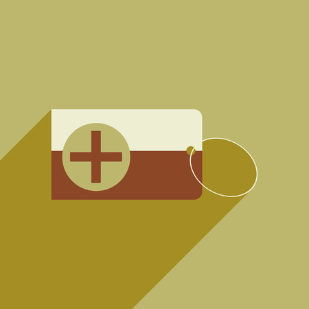 Flat style icon with long shadow Medical Card Illustration